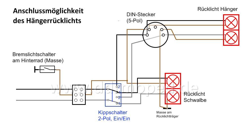 Anhängerbetrieb Schwalbe, Wie wirds angeschlossen? - DDRMoped.de