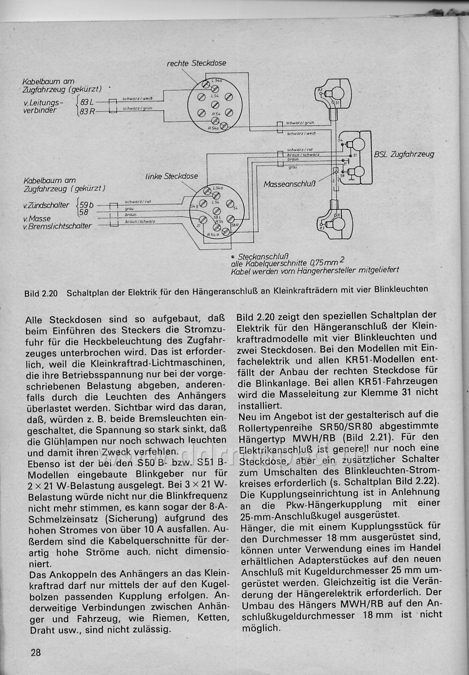 Anhängerbetrieb, Verkabelung vom Zugfahrzeug - DDRMoped.de