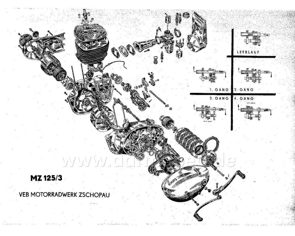Explosionszeichnung, Motor RT125/2 - DDRMoped.de