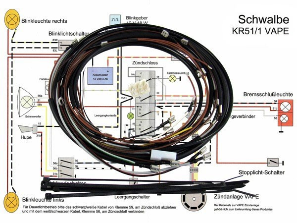 kabelbaum set 12v vape z ndung simson schwalbe kr51 1. Black Bedroom Furniture Sets. Home Design Ideas