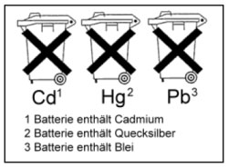 chemische Zeichen auf Batterien